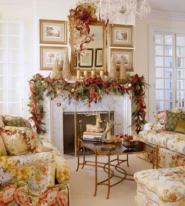 Золотистые украшения на Новый Год