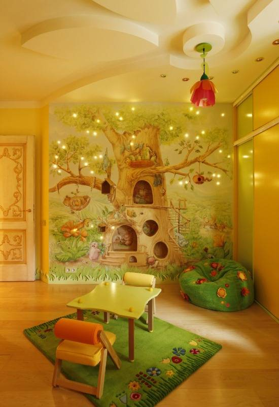 Дерево и лесные мотивы в дизайне детской