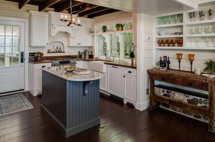 Полукруглая барная стойка в кухонном острове