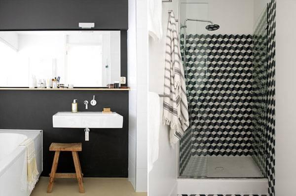 Ванная комната с геометрической плиткой