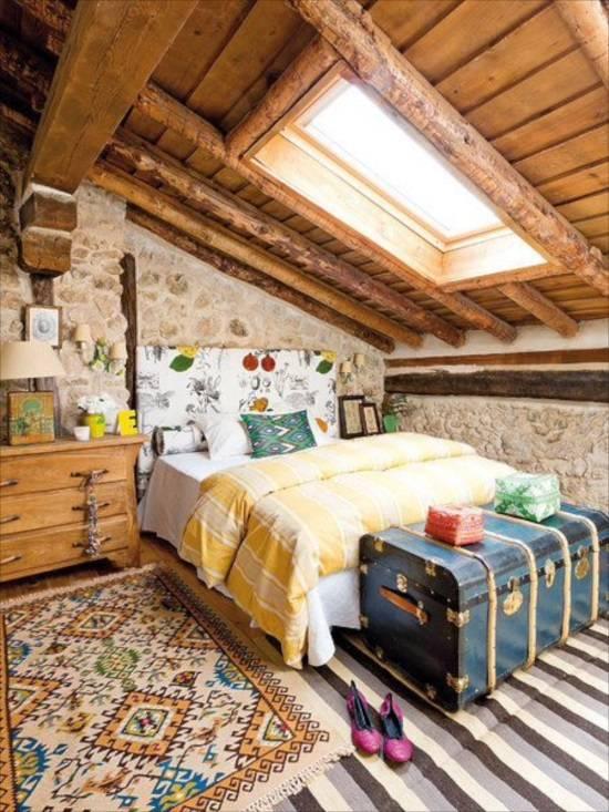Милый дизайн спальни в стиле кантри