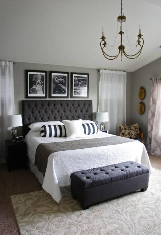 Черно-белые элементы в дизайне спальни