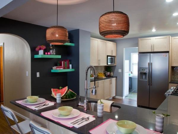 Современная кухня с серыми стенами