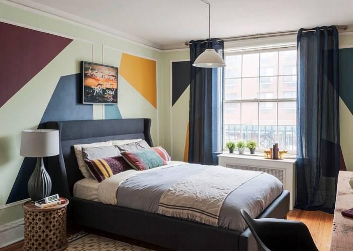 Покраска стен спальни в современном стиле