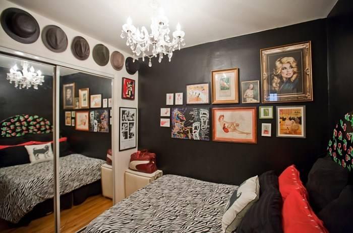 Черно-белая спальня в эклектичном стиле
