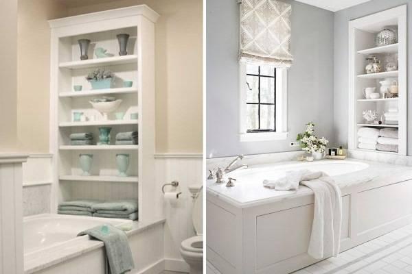 Стильные высокие полки для ванной комнаты