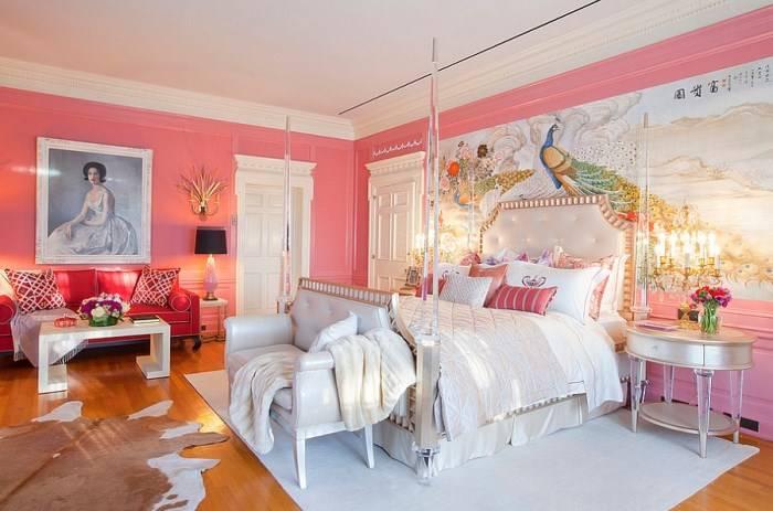 Стильная эклектика в розовой спальне