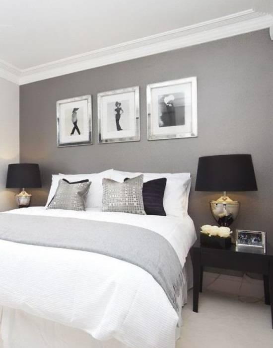 Дизайн спальни в серых и черных тонах