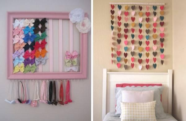 Оформление стены в комнате девочки