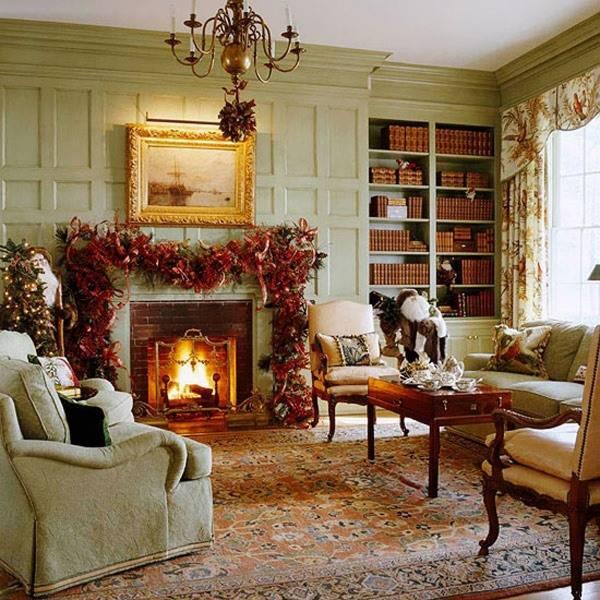 Рождественский дизайн гостиной