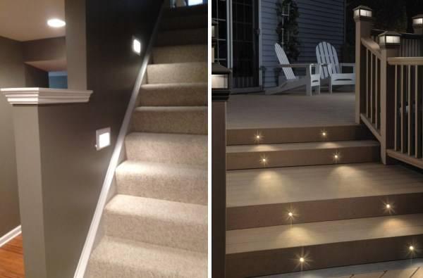 Встроенные светильники для подсветки ступеней