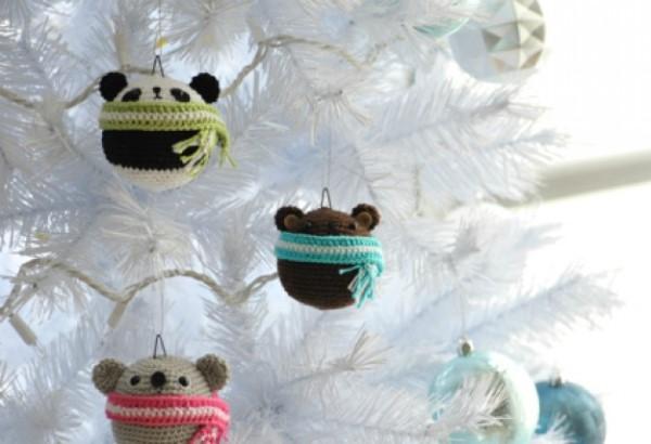 Вязаные мишки для украшения елки