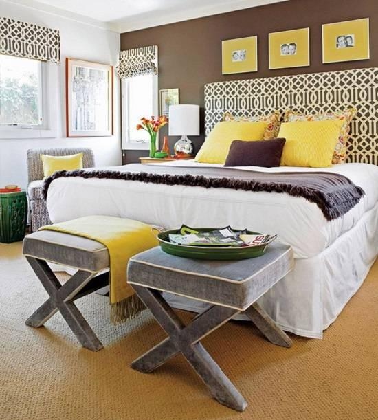 Украшение спальни желтым декором