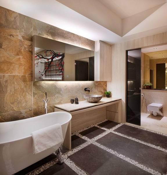 Минималистский дизайн ванной комнаты в азиатском стиле