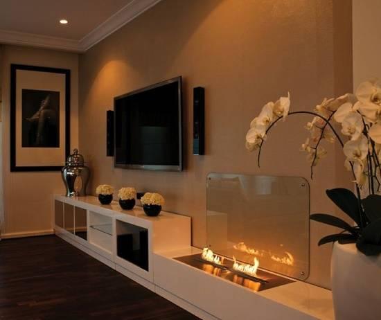 Красивый дизайн гостиной с био-камином