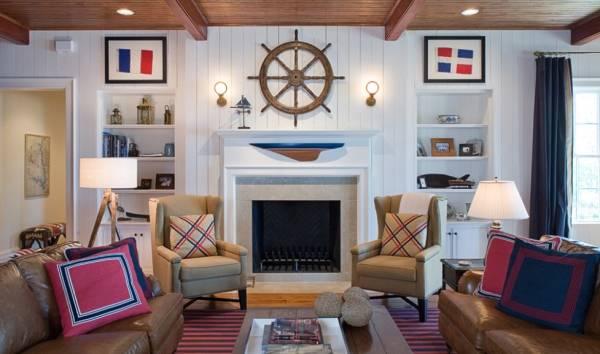Deniz tarzı ve renklerde oturma odası tasarımı