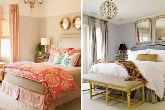 Дизайн спальни с золотистым декором