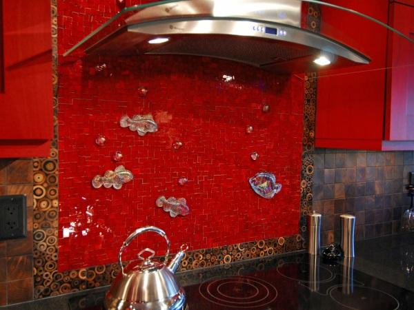 Фартук для кухни из 3D плитки