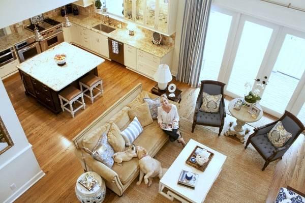 Планировка объединения кухни с гостиной