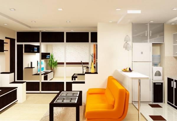 Современная идея для объединения кухни с гостиной