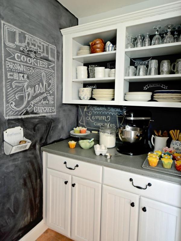 Стены с грифельной доской в кухне