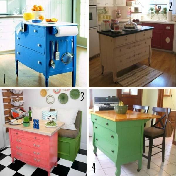 Применение старого комода в роли острова на кухне