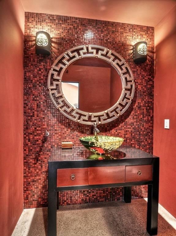 Красный цвет ванной комнаты в китайском стиле