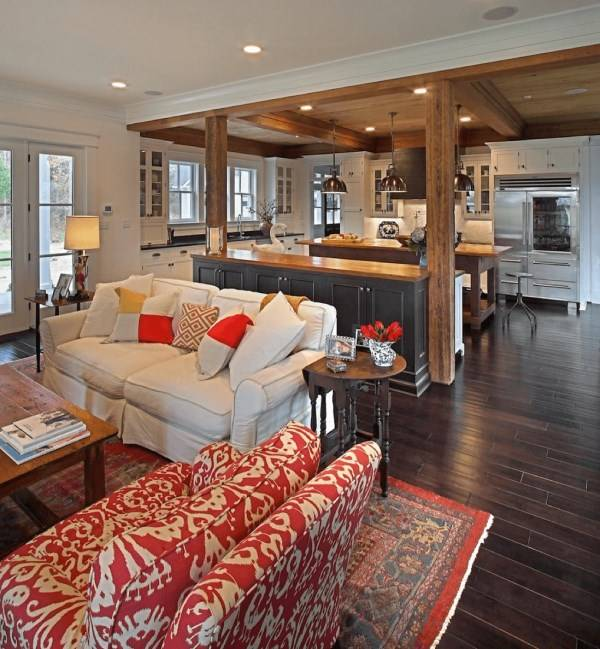 Стильная планировка кухни и гостиной в одной комнате