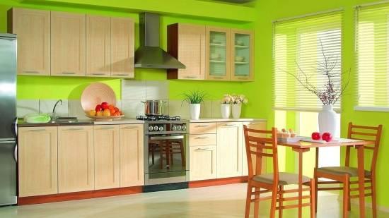 Дизайн кухни в ярко зеленом цвете