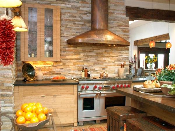 Кварцитовый песчаник как отделка стен в кухне
