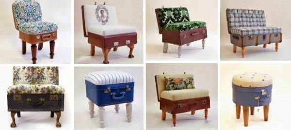 Маленькие кресла из чемоданов