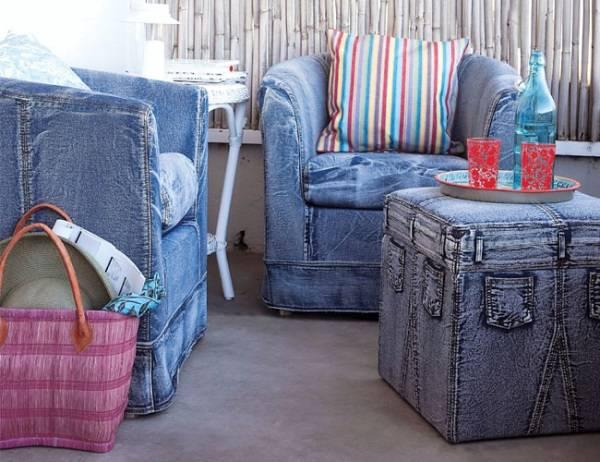 Мягкая мебель с обивкой в виде джинсов