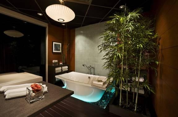 Освещение ванной комнаты в азиатском стиле