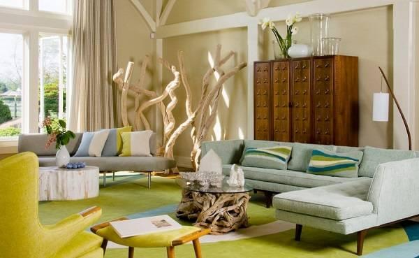 Oturma odası tasarımında çağdaş heykeller