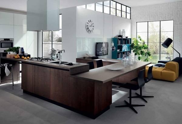 Ультра современный дизайн кухни и гостиной
