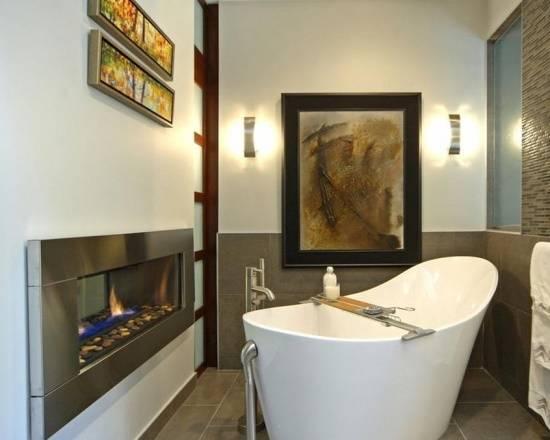 Сквозной камин в ванной комнате