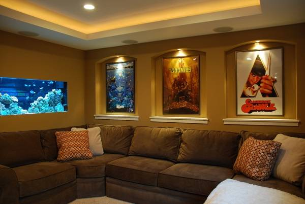 Duvar içi akvaryum ve ışıklı nişler