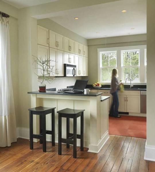 Барная стойка из кухни в гостиную