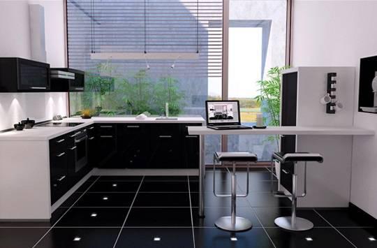 Барная стойка в черно-белой кухне
