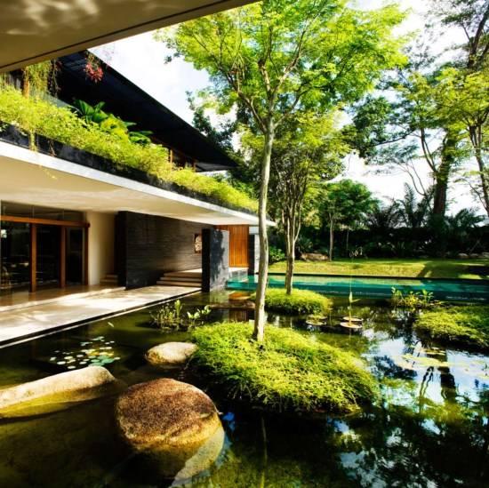 Красивый пруд возле дома
