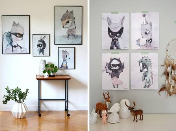 Рисунки животных как декор стен в интерьере