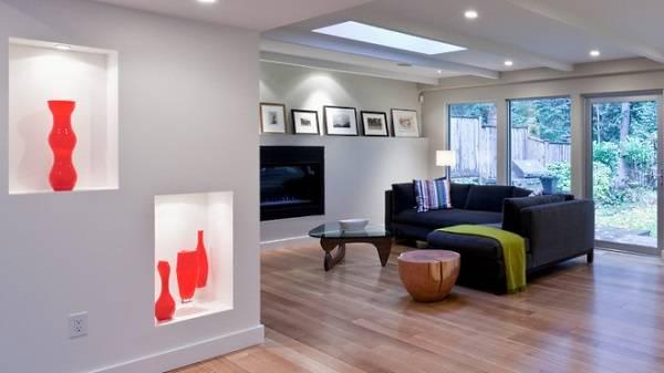 Дизайн гостиной с нишами
