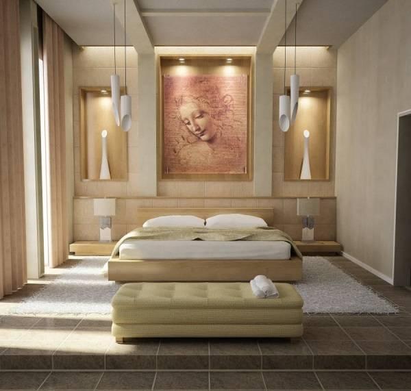 Вдохновляющий дизайн спальни со скульптурными светильниками
