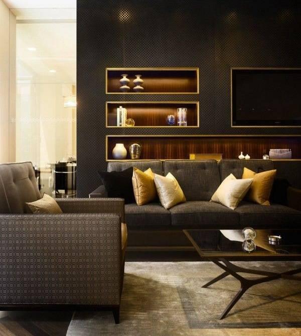 Красивый дизайн гостиной с обрамленными нишами