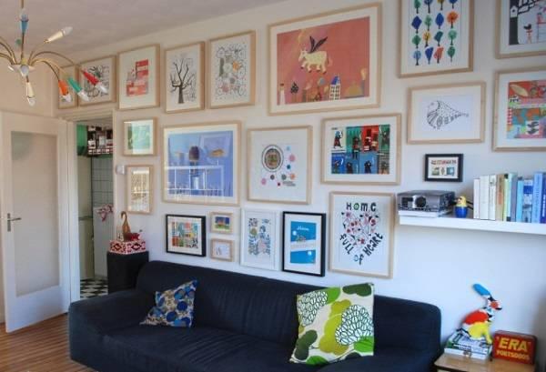 Смешные псевдо детские рисунки на стенах в интерьере