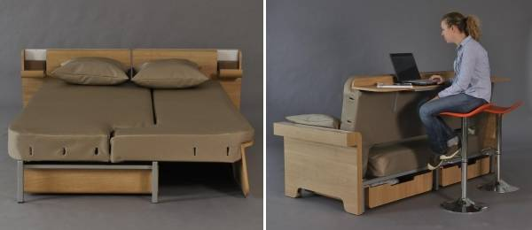 Диван-кровать с полкой