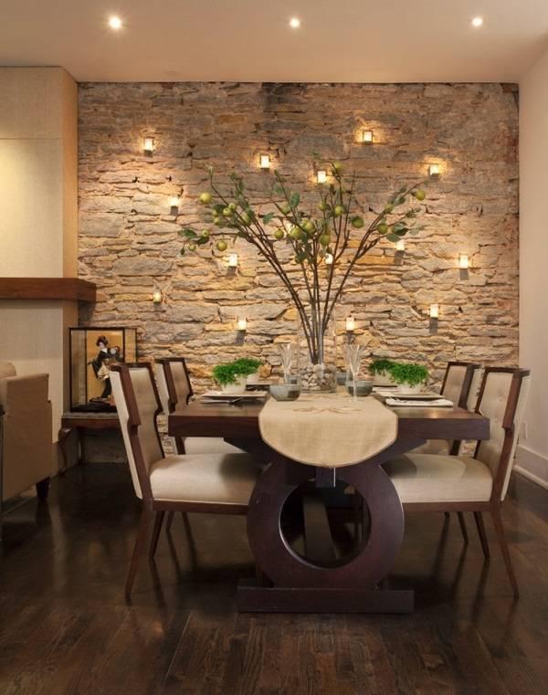 Подсветка одной стены в гостиной