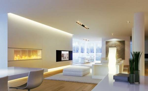 Горизонтальная подсветка стены в ультрасовременной гостиной