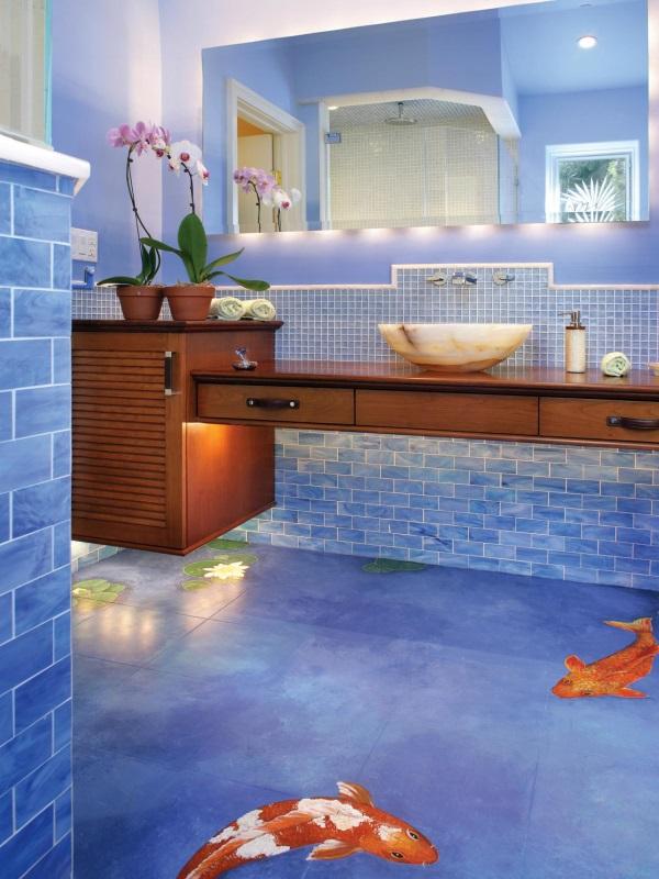 Дизайн ванной комнаты с подвесной мебелью и скрытой подсветкой