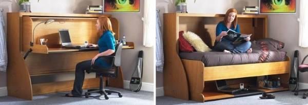 Кровать, трансформирующаяся в письменный стол